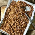 A baking sheet of baked easy homemade granola.