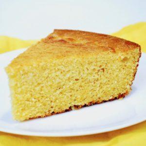 A slice of skillet cornbread.