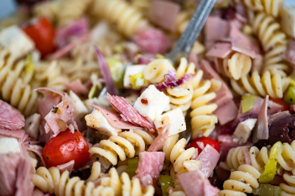 Close up of the ingredients of the antipasto pasta salad.