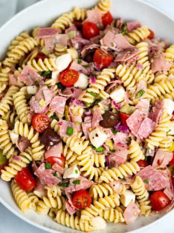 A bowl of antipasto pasta salad.
