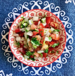 A bowl of pico de gallo.