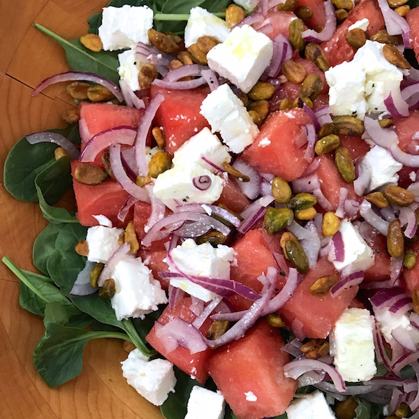 Spinach Watermelon Feta Salad with Lime Vinaigrette