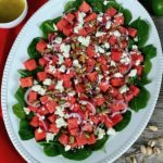 Watermelon feta salad on a white platter.