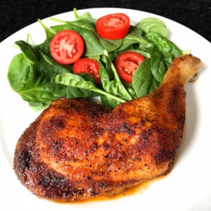 Roasted Chicken Leg Quarters plated