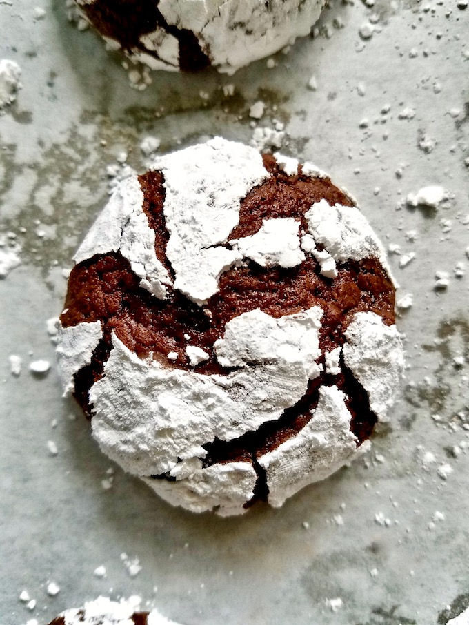 A single chocolate crinkle cookie.