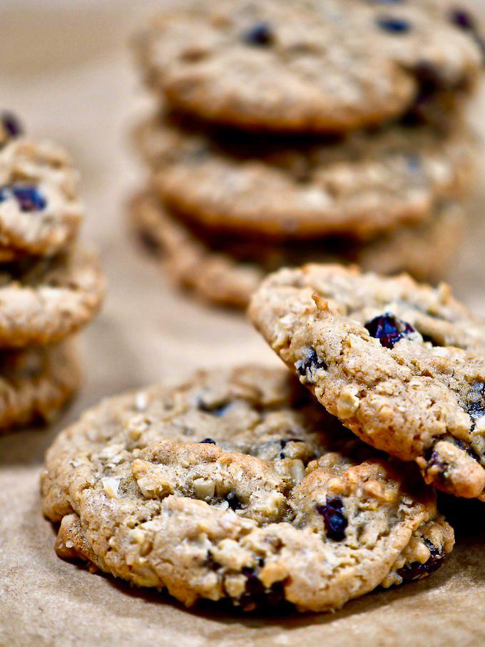 Oatmeal raisin cookies on a baking sheet.