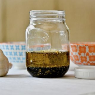 Balsamic vinaigrette in mason jar unshaken.