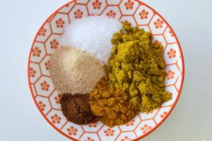 Spices used for curry roasted cauliflower.