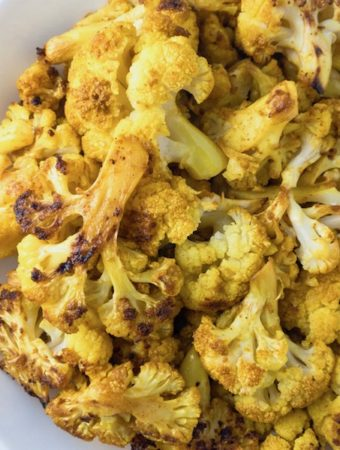 Curry Roasted Cauliflower in a bowl.