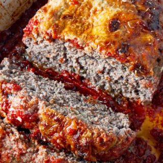 Italian meatloaf sliced and ready to eat.