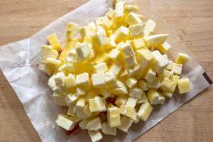 A pile of diced butter.