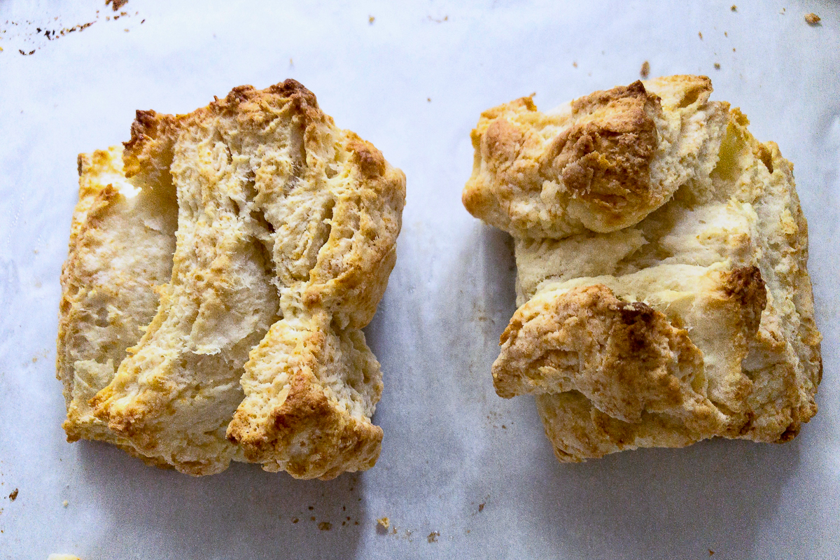 Two biscuits that toppled over after being baked.