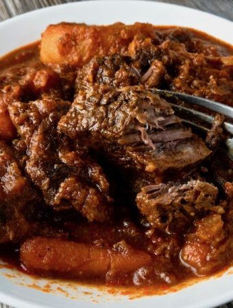 Closeup of a bowl of beef stew with fork breaking up a piece.