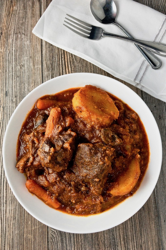 Bowl of hearty beef stew.