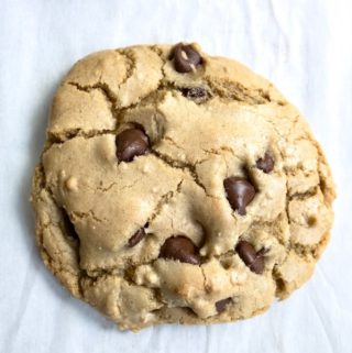 One big thick chewy chocolate chip cookie.