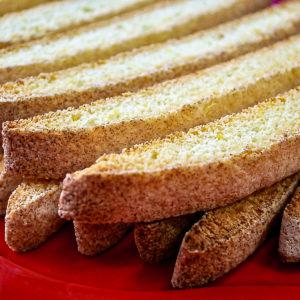Closeup of anisette toasts.