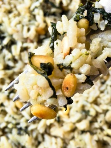 Closeup of Spinach Rice