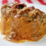 A scoop of sweet potato casserole.