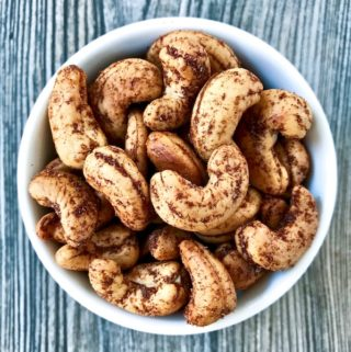 A bowl of Roasted Spiced Cashews.