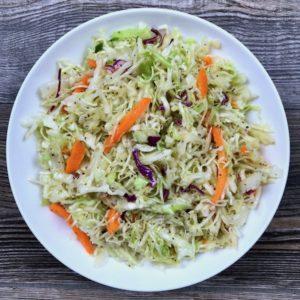 A bowl of simple vinegar coleslaw.