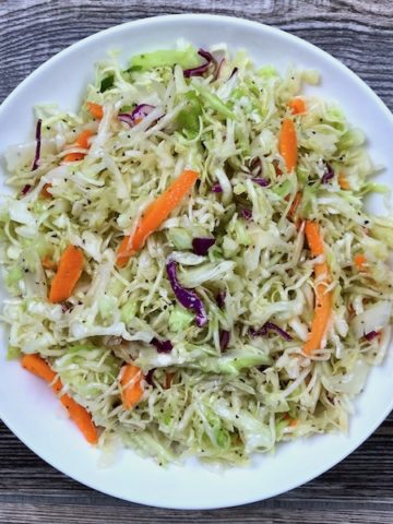 A bowl of simple vinegar coleslaw.