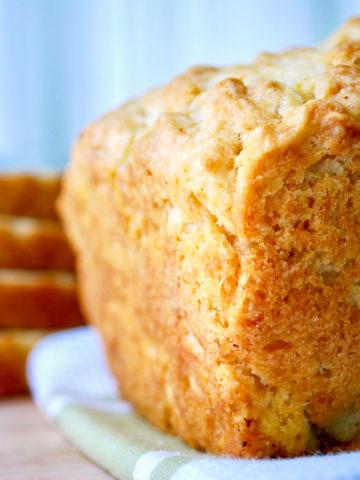 Corner view of crusty beer bread.
