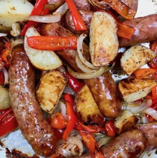 Roasted sausage, potatoes, peppers, and onions.