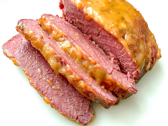 Corned beef with an apricot mustard glaze.
