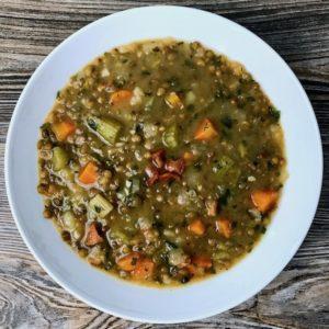 A bowl of French lentil soup.