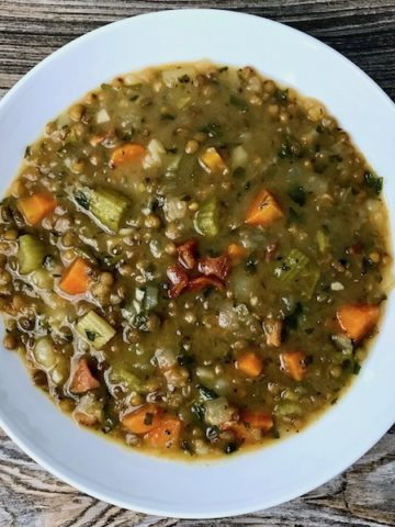 A bowl of French lentil soup.