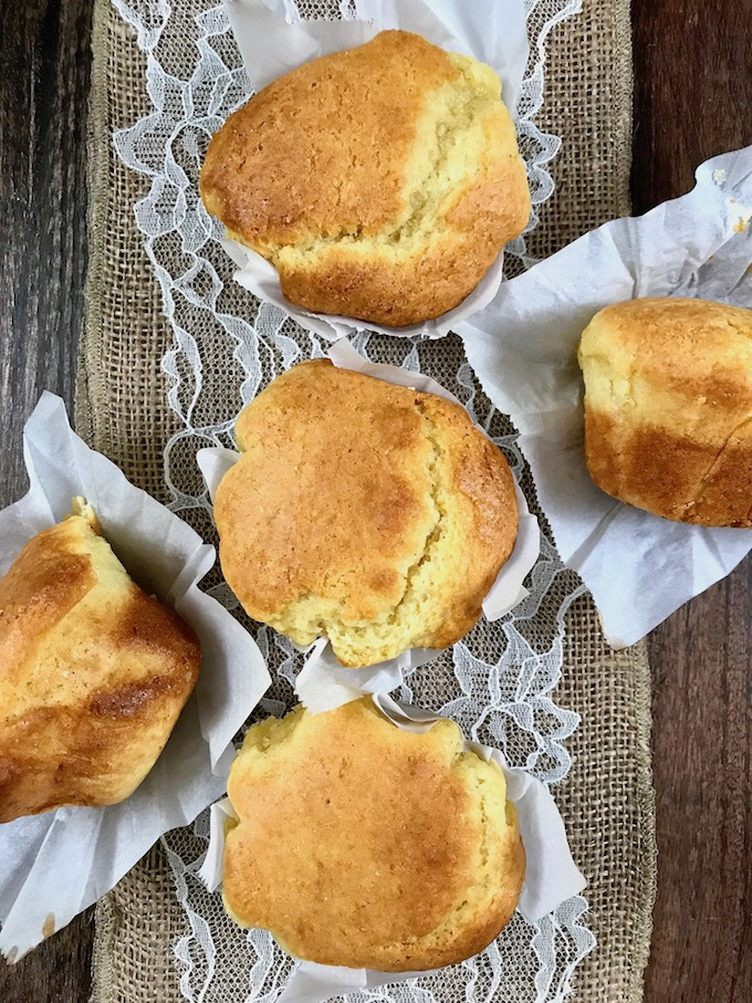 Baked corn muffins on a tray.