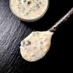A spoonful of homemade tartar sauce.