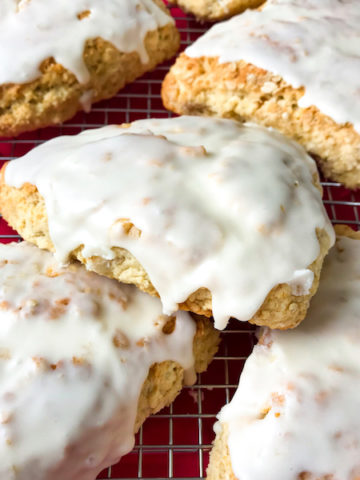 Iced maple scones on a cooling rack.