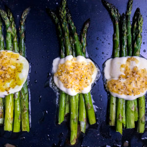 Roasted asparagus with mozzarella and a lemon dressing.
