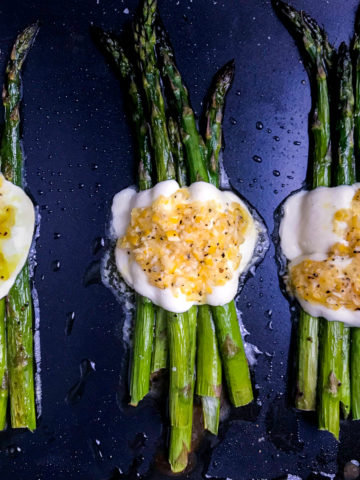 Roasted asparagus with mozzarella and a lemon dressing.