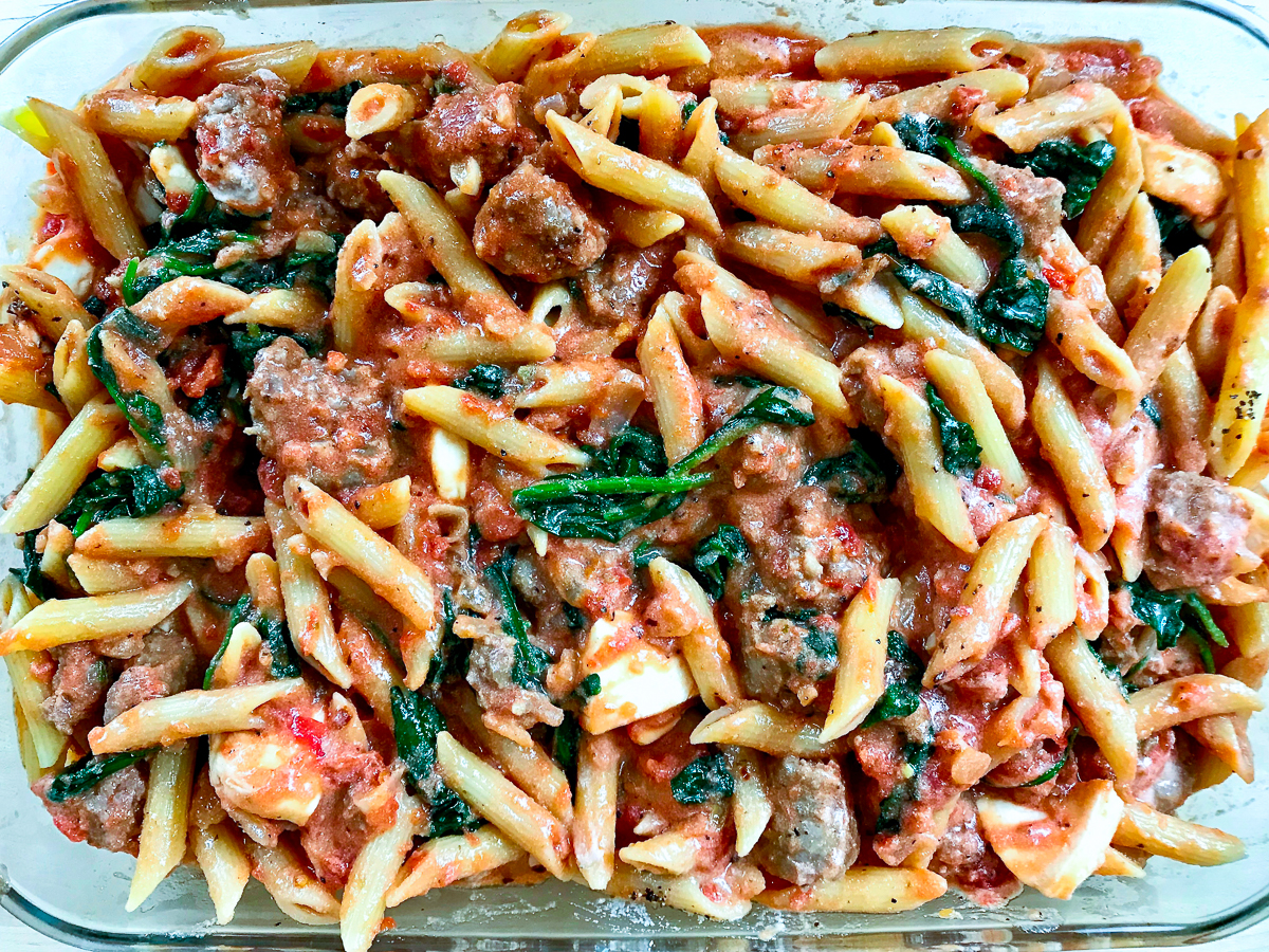 Sausage pasta bake ready for the oven.