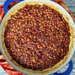 A pan of 30 minute bourbon baked beans.
