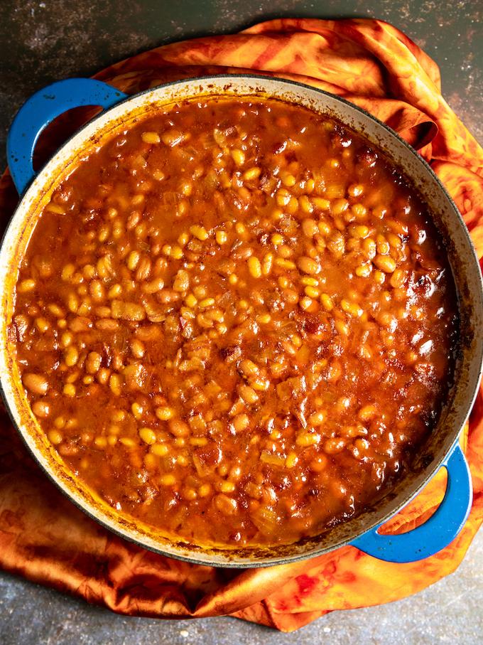 A skillet of bourbon baked beans.