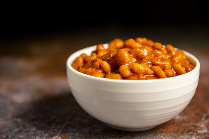 A small bowl of baked beans.