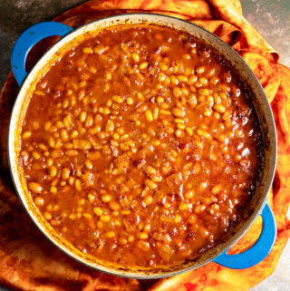 A skillet of bourbon baked beans.