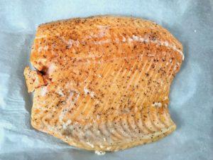 Slow roasted salmon fillet.