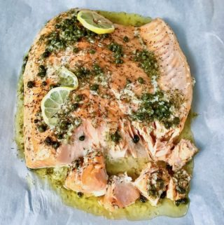 Slow Roasted Salmon with Lemon Caper Butter