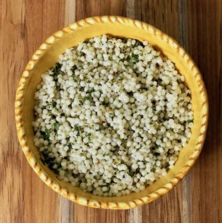 A bowl of lemon herb pearl couscous.
