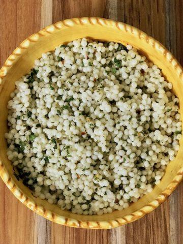A bowl of lemon herb pearl couscous.