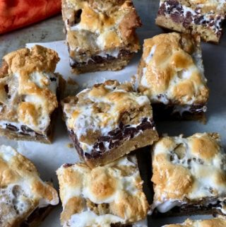 Sliced smores bars ready to eat.