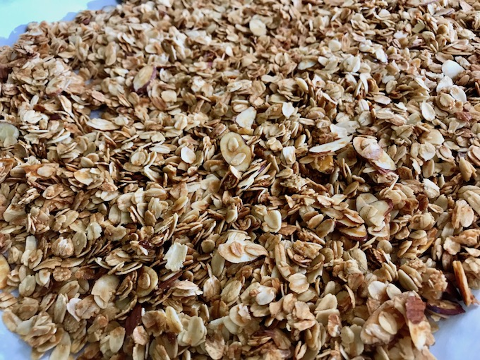 A baking sheet of homemade granola.