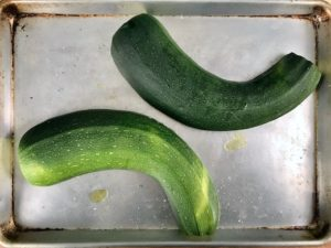 Roast the zucchini cut side down.