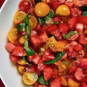 Fresh tomato salad in a bowl.