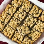 Apple butter oatmeal bars sliced and ready to eat.