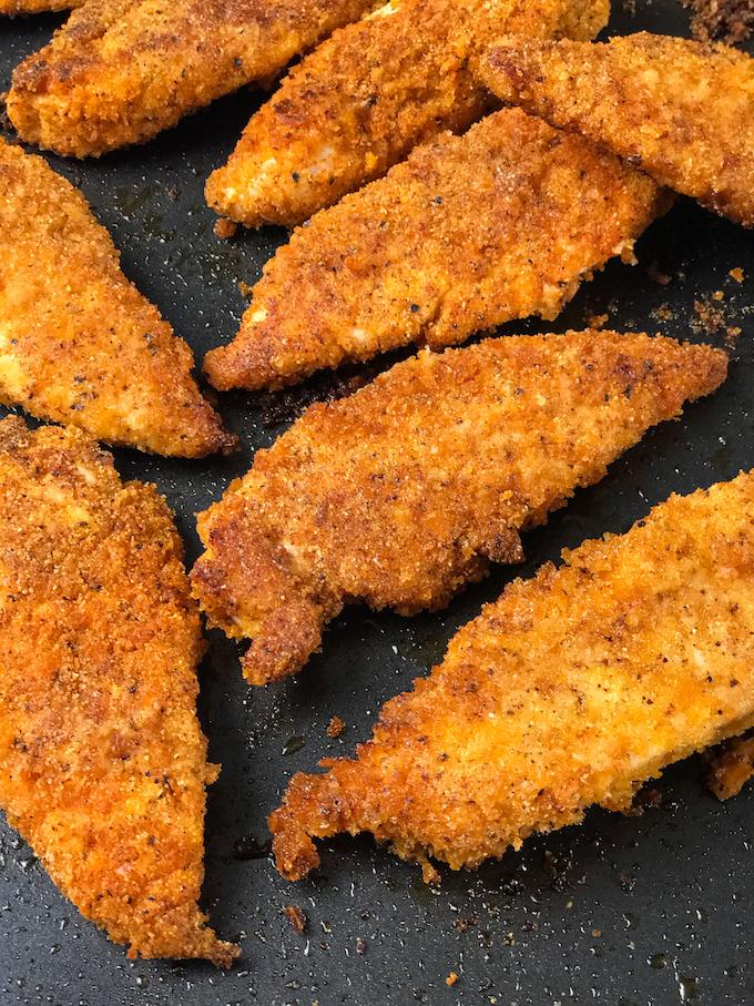 Crispy baked chicken tenders.